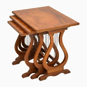 Regency Style Figured Walnut Nesting Tables, 1930s, Set of 3