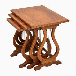 Tables Gigognes de Style Régence en Noyer Figuré, 1930s, Set de 3