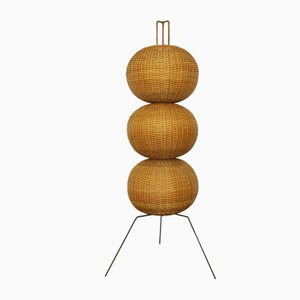 Floor Lamp with 3 Balls in Wicker, 1950s