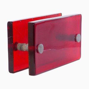 Doppelter Griff aus rotem Glas, 1970er
