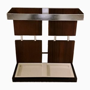 Vintage Rosewood, Aluminium, Black Steel & Cream-Colored Plastic Drip Tray Umbrella Stand, 1970s