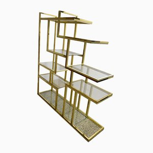 Brass Bookshelf with Glass Shelves by Romeo Rega, 1970s