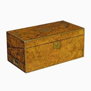 Victorian Burr Walnut Writing Box, 1877