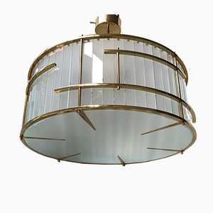 Mid-Century Murano Round Art Glass and Brass Ceiling Lamp, 1980s