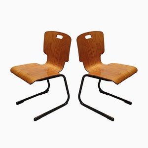 Chaises Universitaires Françaises, 1970s, Set de 2