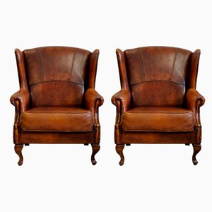 Art Deco Leather Wing Lounge Chairs, 1930s, Set of 2