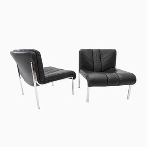 Black Leather Lounge Chairs from Girsberger, 1980s, Set of 2