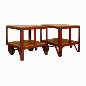 Carritos de fábrica o mesas de centro industriales de Rudolf Rötzel GmbH, años 50.Juego de 2
