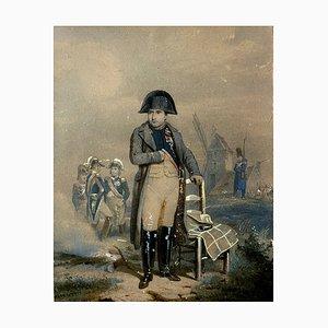 Scuola francese, periodo impero, Napoleone a piedi con i suoi soldati, acquarello