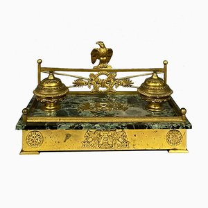 Gilt Bronze and Marble Sea Green Inkwell, 1810s