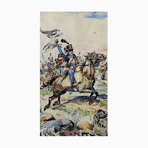 Ange Joseph Camaret, French School, Depicting Hussar Officer on the Battlefield, 1803, Watercolor