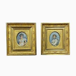 Escuela de francés imperio, acuarelas, marcos dorados