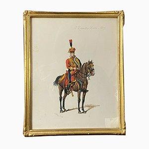 G.Bitry-Boëly, école française, officier de hussard, années 1850, aquarelle
