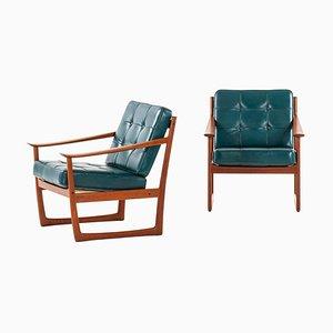 Sleigh Easy Chairs by Peter Hvidt & orla Mølgaard-Nielsen for France & Daverkosen, Set of 2