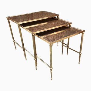 Nesting Table in Brass and Glass Eglomisé