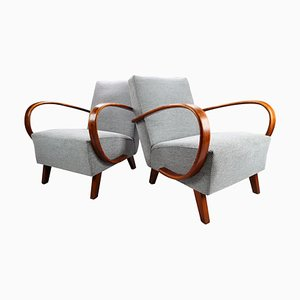 Upholstered & Bentwood Armchairs by Jindrich Halabala, Czech Republic, 1940s, Set of 2