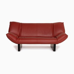Dark Red Leather Tango 3-Seat Sofa from Leolux