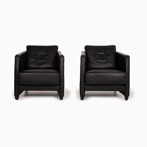 Conseta Leather Armchair Set in Black from Cor, Set of 2
