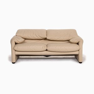Maralunga Leather 2-Seat Sofa in Cream from Cassina