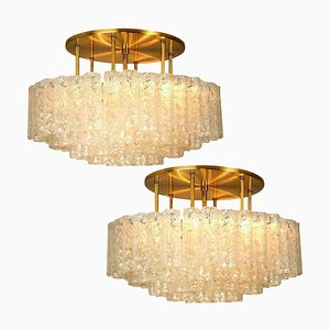 Large Blown Glass and Brass Flush Mount Light Fixtures from Doria, Set of 2