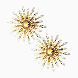 Italian Crystal and Gilded Brass Flush Mount Sconces from Stilkronen, Set of 2