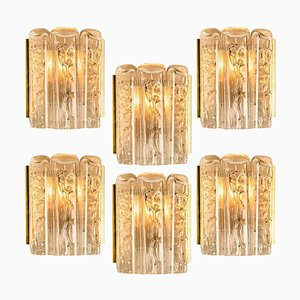 Structured Blown Glass and Brass Wall Sconce from Doria, 1960