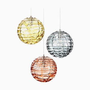 Murano Glass Pendant Lights in the Style of Venini, 1960s, Set of 3