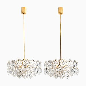 German Faceted Crystal and Gilt Metal 4-Tier Chandeliers from Kinkeldey, Set of 2