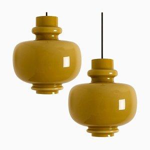 Lampes à Suspension en Verre Vert Olive par Hans-Agne Jakobsson pour Staff, 1960, Set de 2