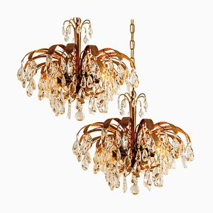 Crystal Glass & Gilt Brass 6-Light Chandeliers from Palwa, 1960s, Set of 2