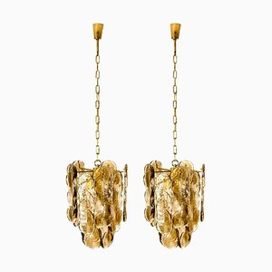 Large Chandeliers in Citrus Swirl Smoked Glass from Kalmar, Austria, 1969, Set of 2