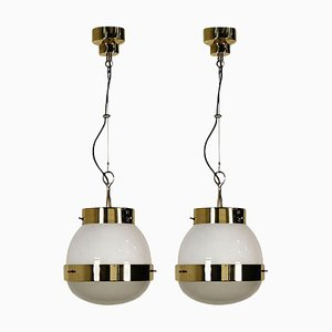 Delta Grande Pendant Lights in Glass & Brass by Sergio Mazza for Artemide, 1960s, Set of 2