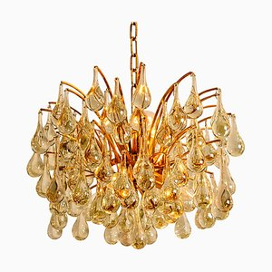 Large Brass and Crystal Chandelier by Ernst Palme, Germany, 1970s