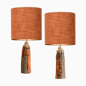 Ceramic Lamps with Silk Lampshades by B. Rooke, Set of 2