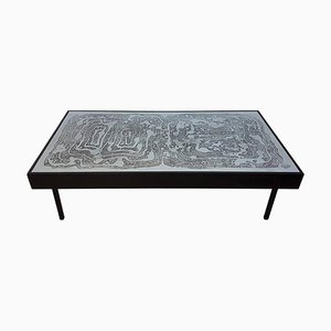 Table Basse Vintage en Aluminium Gravé à l'Acide par Bernhard Rohne, 1970s