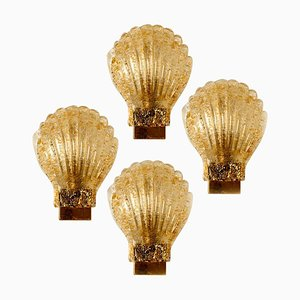 Murano Glass and Brass Sea Shell Sconce from Barovier, Italy, 1960