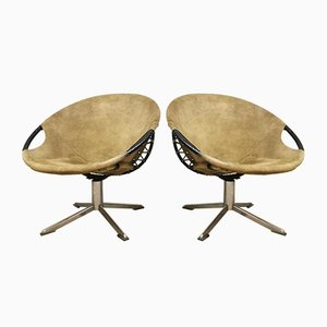 Vintage Swivel Balloon Circle Chairs from Lusch & Co, Set of 2