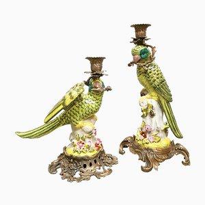 Dekorativer Messing Kerzenhalter mit Papageien aus Porzellan