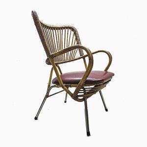 Vintage Rattan Lounge Stuhl von Rohe