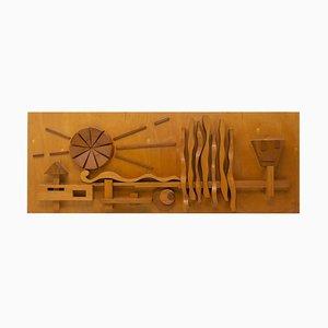 Escultura de pared de madera Eastern Bloc, años 70