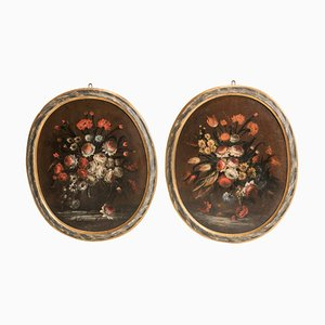 Still Life Paintings in Oval Lacquered Frames, Late 17th Century, Set of 2
