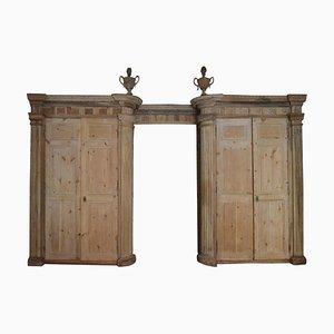 Armario boiserie italiano con 4 puertas y armario de madera, siglo XVIII