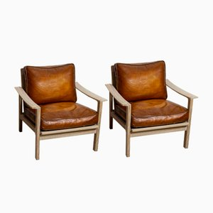 Pair of Mid C20th Slatted Oak Chairs with Deep Leather Cushions