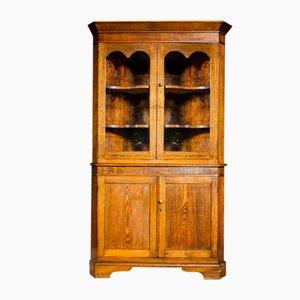 Alacena esquinero inglés antiguo con tablero de vitrina - Principios del siglo XX