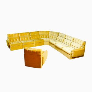 Vintage Modular Corner Sofa with Armchairs in Yellow, 1970s