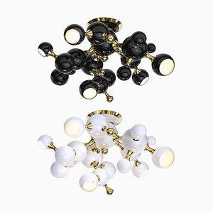 Schwarze Deckenlampe mit Messing Details