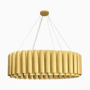 Oval Pendant Light In Matte Hammered Brass
