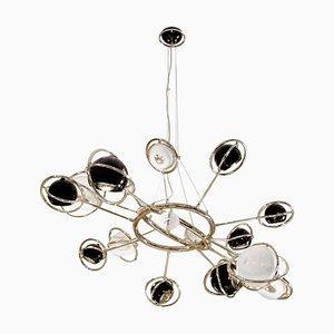 Lampe à Suspension en Laiton et Acier avec Globes Noirs et Blancs