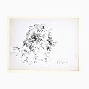 Marie Paulette Lagosse, Die Katze, Stift auf Papier, 1970er Jahre