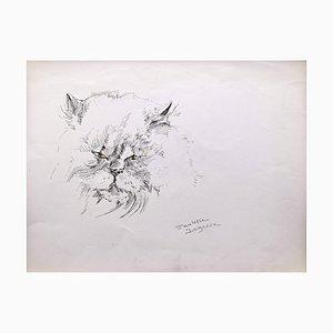 Marie Paulette Lagosse, Le chat, stylo sur papier, 1970s